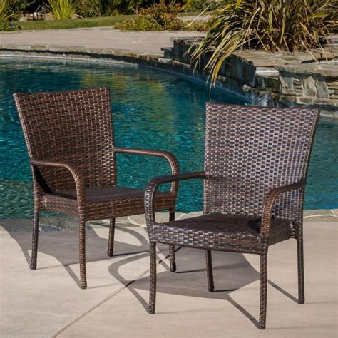 Outdoor Patio Chairs by Set Of 2 Outdoor Patio Furniture Brown Wicker Stackable
