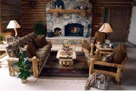 Rustic Cabin Living Room Ideas by Chic Country Cabin TV Room Modern World Furnishing Designer