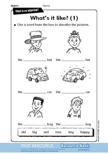 what is an adjective activity sheets free primary ks1