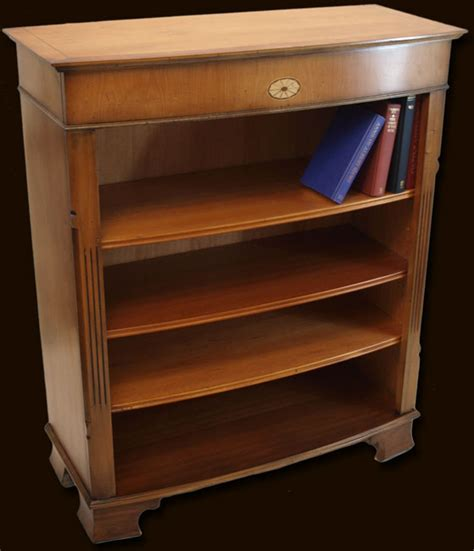 Reproduction Bookcase by Reproduction Low Bow Front Open Bookcase In Yew And Mahogany