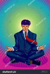 Vector Illustration Of A Business Guru, Meditating ...