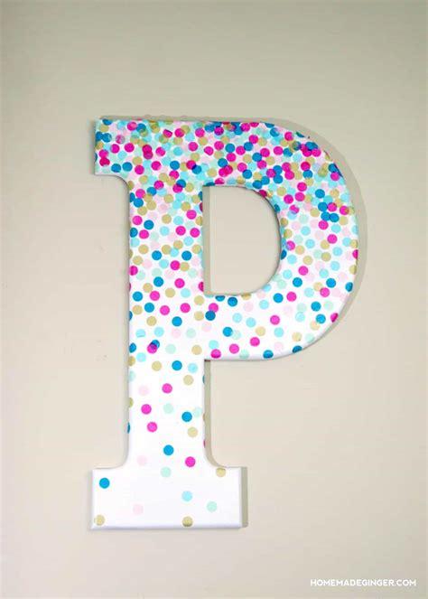 confetti decorative letters  wall decor mod podge rocks