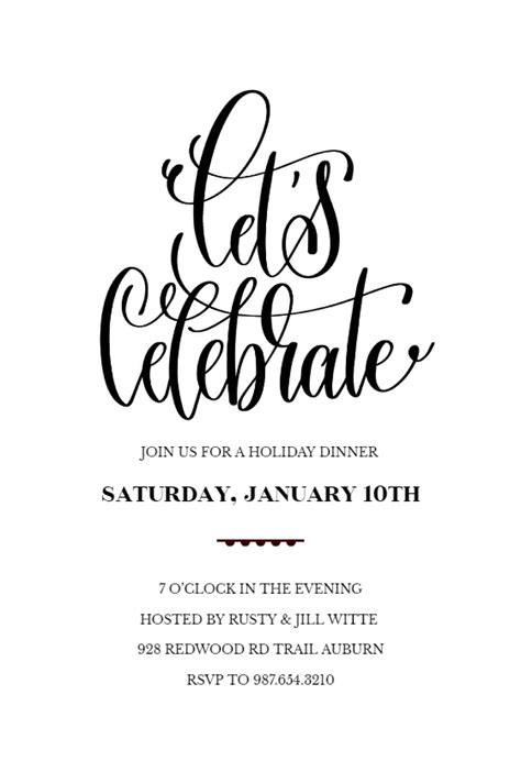 lets celebrate party invitation template