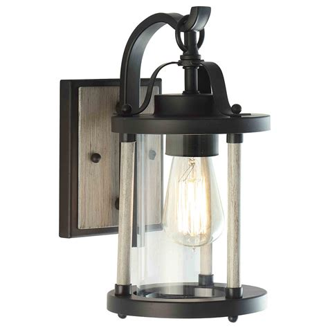 dsi 1 light black iron and wood outdoor wall sconce