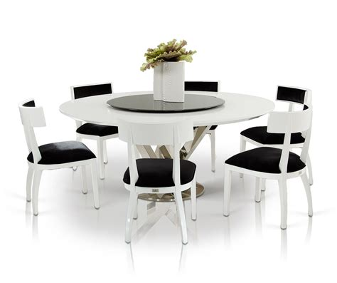 modern dining room table with 8 black and white