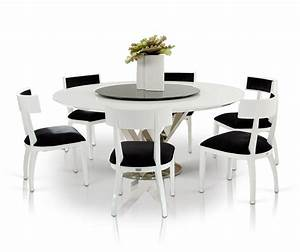 modern round dining room table with 8 black and white With modern round dining room table