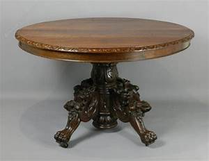 Antique, French, Carved, Oak, Hunt, Table, C1870