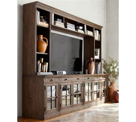 pottery barn media livingston medium media suite with glass doors brown