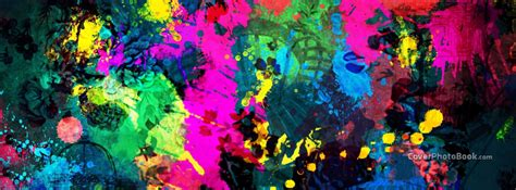 Colorful Paint Splatter Facebook Cover - Abstract
