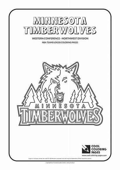 Nba Coloring Pages Logos Timberwolves Minnesota Basketball
