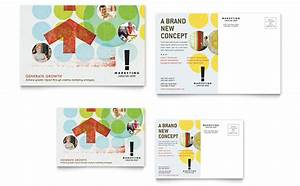 marketing consultant postcard template design With promotional postcard template