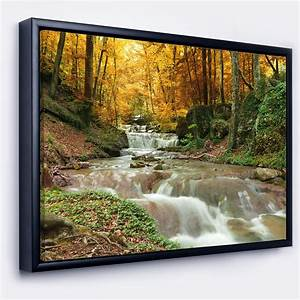 Designart, U0026, 39, Forest, Waterfall, With, Yellow, Trees, U0026, 39, Large, Landscape, Framed, Canvas, Art, Print
