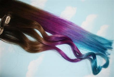 Purple Blue Tie Dye Tips Purple And Turquoise Human Hair