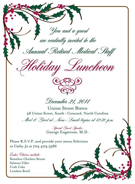 employee holiday luncheon invitation template cmc northeast 2011 luncheon invitation on behance