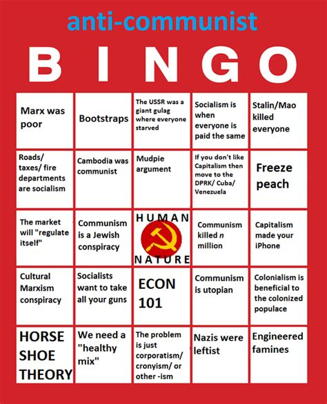Anti Communist Memes - anti communism custom bingo cards know your meme