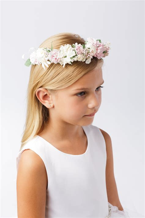 First Communion Floral Crown Wreath Headpiece with Pastel ...
