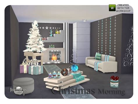 Home Decor Sims 4 Cc :  Christmas Morning Living By Jomsims