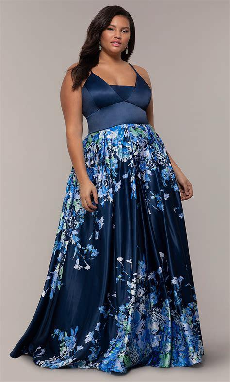 Navy V-Neck Plus-Size Formal Dress with Floral Skirt