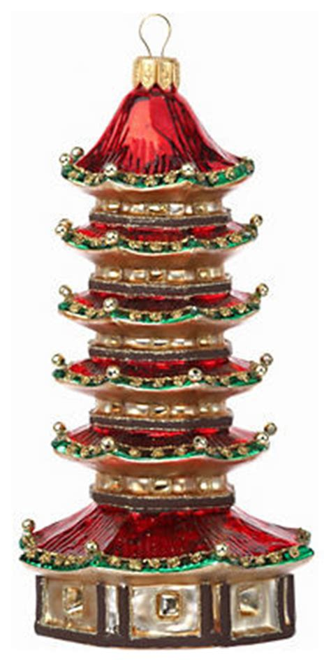 red pagoda ornament asian christmas ornaments by gump s