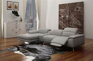 canape d39angle en cuir italien 5 places relaxia gris With canape angle cuir gris clair