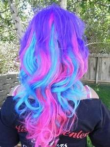 purple blue & pink cotton candy color hair hair dyed
