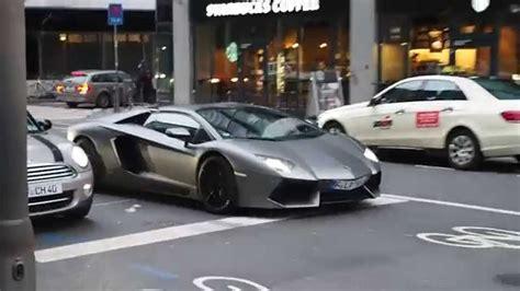 Matte grey Lamborghini Aventador roadster DriveBy ...