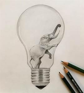 Bleistifte Zum Zeichnen : elephant lightbulb gl hbirne idea zeichnung bleistift drawing creative blackandwhite bw love ~ Frokenaadalensverden.com Haus und Dekorationen