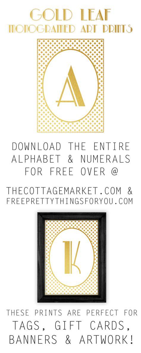 printable gold leaf monogram art prints