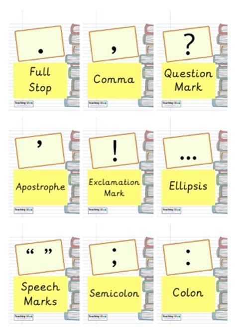punctuation cards teaching ideas