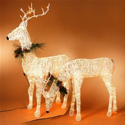 gerson  electric lighted grapevine deer  metal
