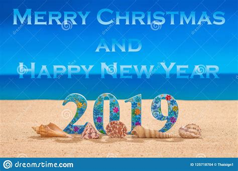 Merry Christmas And Happy New Year 2019 Stock Photo