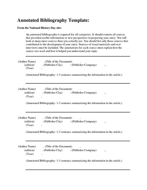 Free Apa Bibliography Template by Best Photos Of National History Day Annotated Bibliography