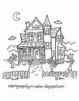 Haunted Coloring Pages Printable Adron Mr sketch template