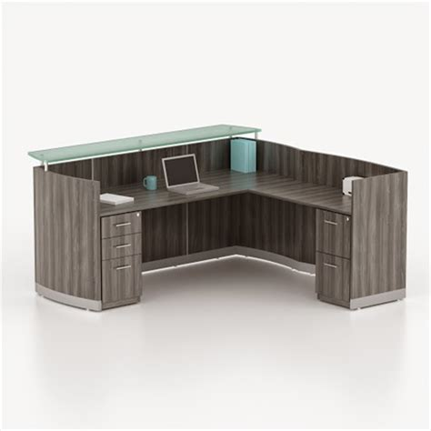 l shaped reception desk mayline medina gray steel l shaped reception desk with
