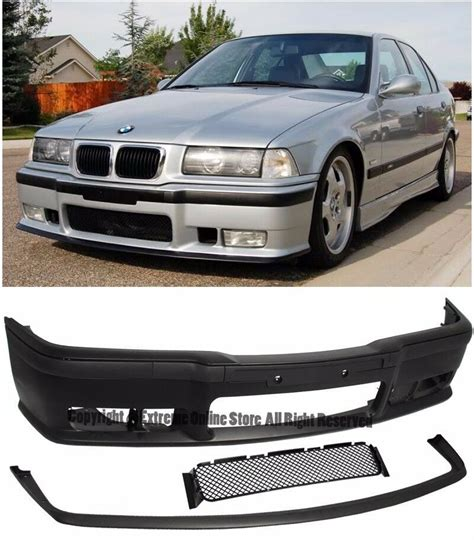 m3 style front conversion bumper cover w lip for 92 98 bmw e36 3 series 2 4 dr ebay