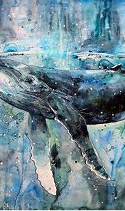 whale, Artwork, Watercolor, Paint Splatter, Animals ...