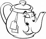 Teapot Coloring Cartoon Teapots Worksheets sketch template