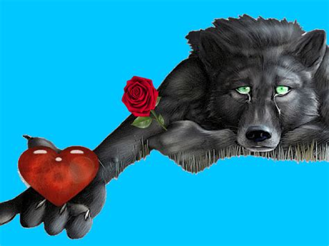 wolf heart red rose messages  lonely hearts hd