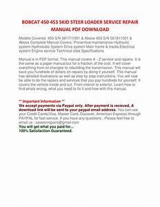 Bobcat 450 453 Skid Steer Loader Service Repair Manual Pdf