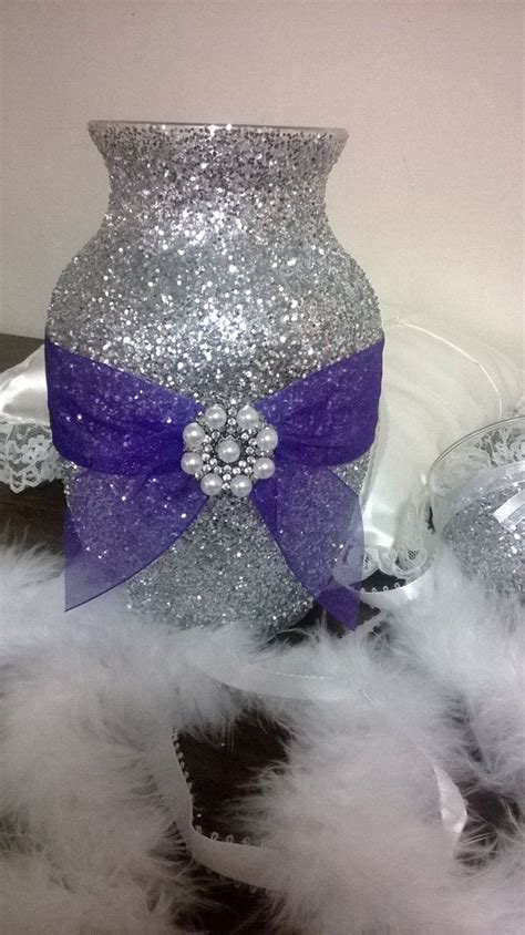 silver glitter vase  purple ribbon wedding