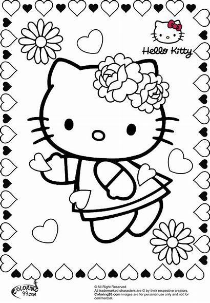 Valentine Kitty Hello Coloring Pages Flower Heart