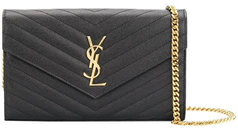 saint laurent wallet  chain ysl monogram envelope woc blackgold leather cross body bag tradesy