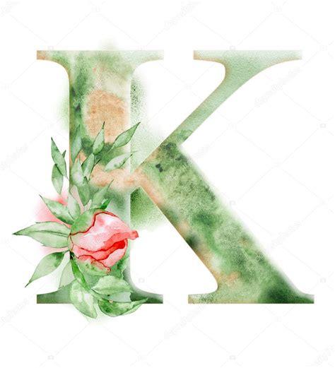 flower initial letter floral watercolor alphabet