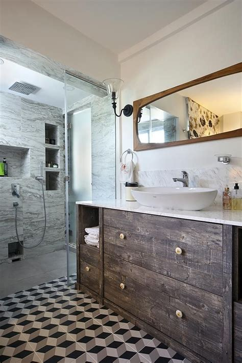 eclectic bathroom design patterned floor tiles rustic