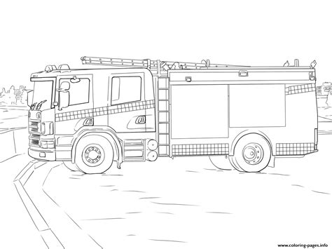 fire truck scania coloring pages printable