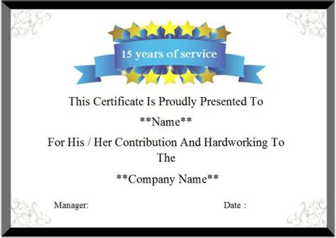 Certificate For Years Of Service Template by 24 Certificate Of Service Templates For Employees Formats
