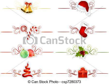 traditional christmas clip set vectors of set of different traditional christmas elements on white csp7280373 search clip art