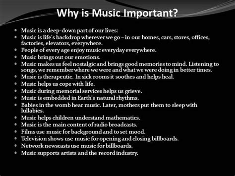 Why Is Music Important Authorstream