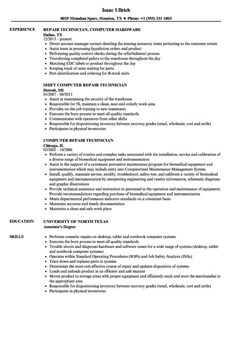 Resume Sle For Computer Technician by Computer Repair Resume Resume Sle
