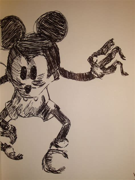 Epic Mickey Pen Drawing By Xarano On Deviantart